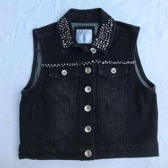 1ac5c94e88 Justice Other - Girls Justice black denim rhinestone vest sz 14